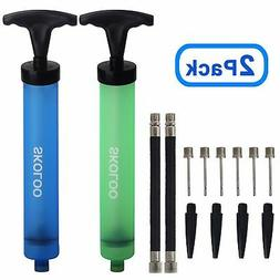 "Skoloo 2 Pack 10"" Portable Hand Air Ball Pump Inflator Kit w"