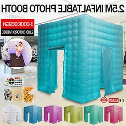 3 Doors Inflatable LED Air Pump Photo Booth Tent Colorful Th
