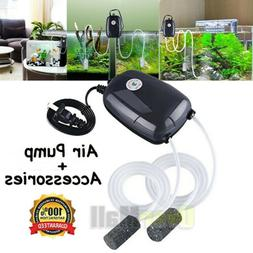 Aquarium Air Pump 300Gal Adjustable 2 outlets for Fish Tank