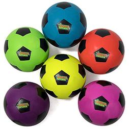 Atomic Athletics 6 Pack of Neon Rubber Playground Soccer Bal