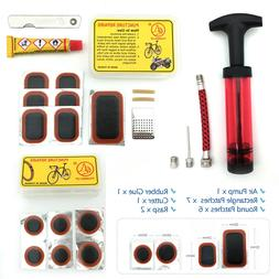 Bicycle Tire Repair Tools | Air Pump, Glue, 13 Patches, Rasp