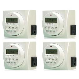 4 HYDROFARM 7 Day Dual Outlet Digital Programmable Timer Con