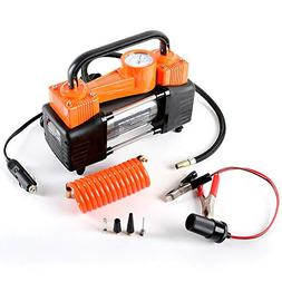 Heavy Duty Dual Cylinder Portable Air Compressor Pump:12V El