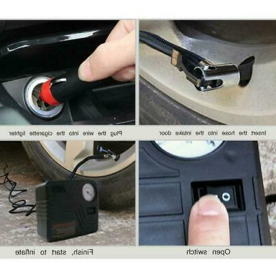 Car Vehicle Motorcycle Tyre Wheel 1pc Tire Inflator Air Pump
