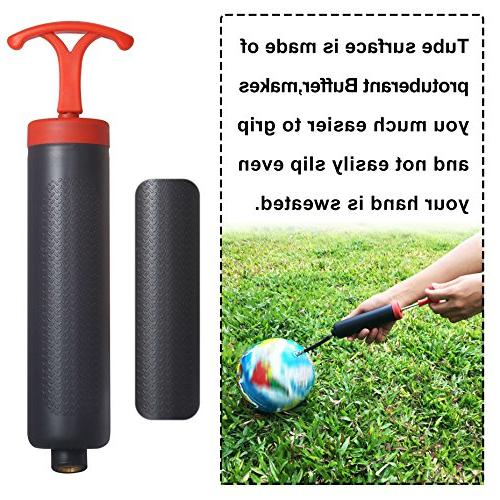 "Skoloo 8"" Hand Inflator for Basketball Water Polo Exercise Ball Balloon,Needle Nozzle Included,Black"