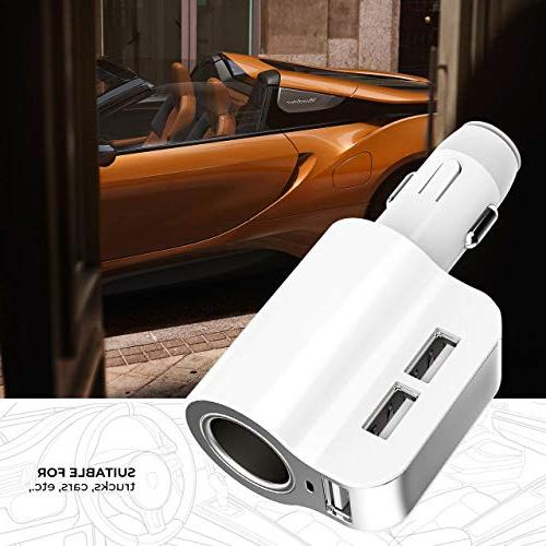 Car Charger, Larnn 24W/3.1A Fast 3 Port Cigarette Extra Fuse iPhone X 8 Plus S8 LG V30 V20 G6 Sony GPS MP3 Players