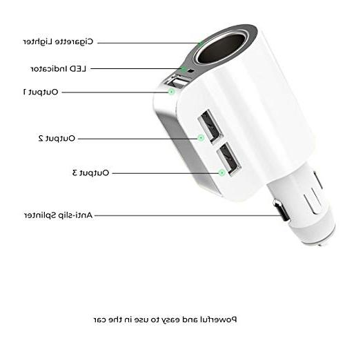 Car Charger, Fast 3 Port Cigarette with iPhone 8 Plus Samsung Galaxy S8 S8 Plus LG V30 V20 Sony Dashcam GPS Players