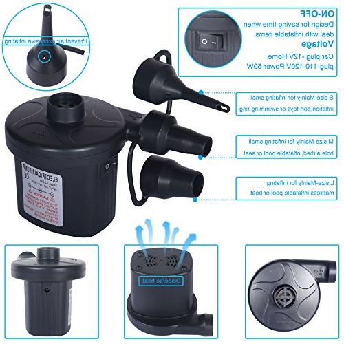Skoloo Electric Portable Pump 1 110V AC/12V DC Inflator for Inflatables Raft Float Bed Boat Paddling Toy with 3 Nozzles