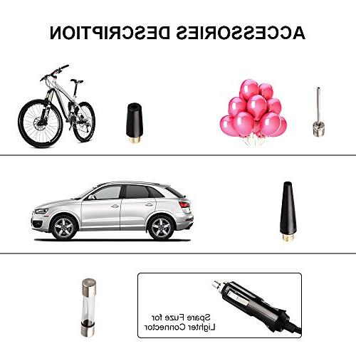 rourlinge Portable PSI Digital Auto Tire Inflator with Preset Pressure Auto Shut Off and Emergency Light for Car Tyre, Motorcycle,