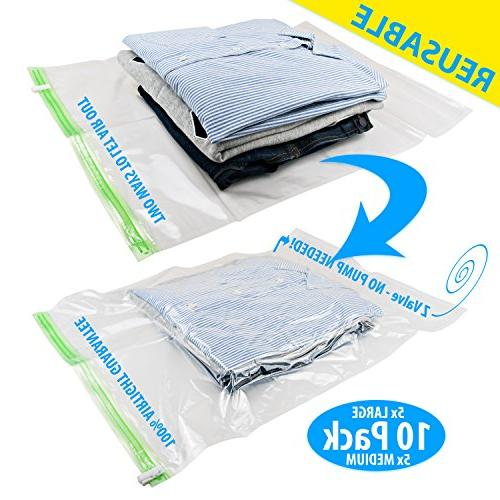 9f7b2c26f2c0 REUSABLE Packing Bags for Travel 5 Large, 5 Medium No Need Pump or Vacuum
