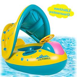 Baby Pool Float with Canopy Inflatable Swimming Floats for K