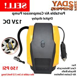 Portable Tire Inflator, GRANDTAU Mini 150 PSI 12V DC Car Ele