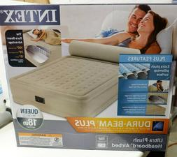 Intex Queen Raised Headboard Air Bed Mattress Airbed Built i
