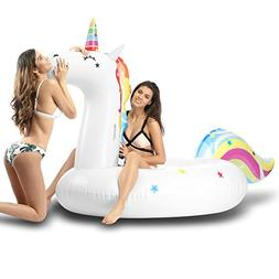 MJFOX Unicorn Pool Floats, Giant Inflatable Ride-ons Summer